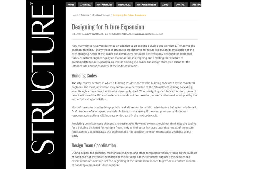 Structural Design Group Designing For Future Expansion In Structure Magazine